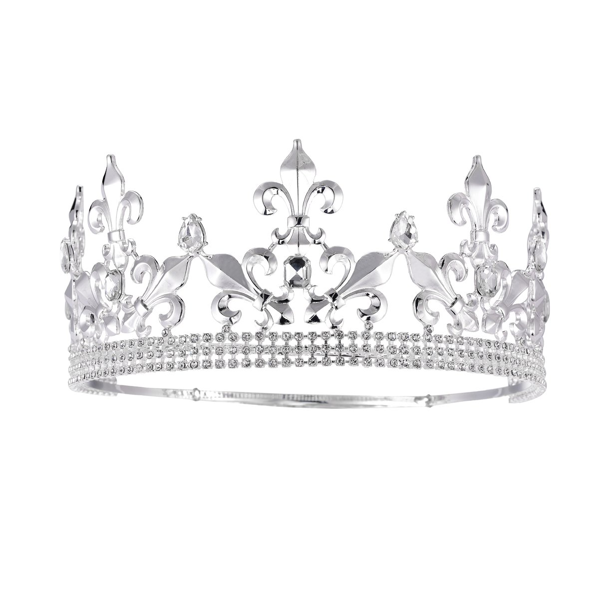SSNUOY Adjustable Full Round Imperial Medieval Tiara Fleur De Lis King Crown Silver Finish