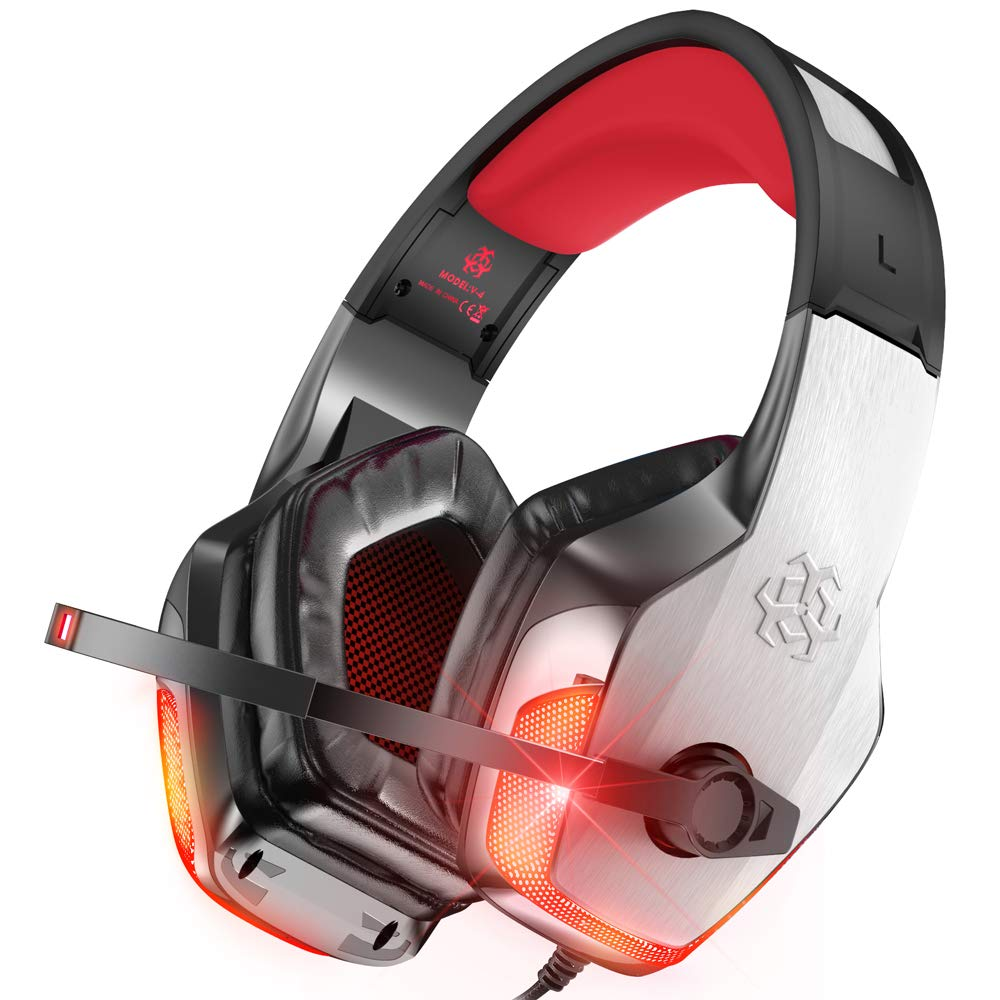 BENGOO V-4 Gaming Headset for Xbox One, PS4, PC, Controller, Noise Cancelling Over Ear Headphones with Mic, LED Light Bass Surround Soft Memory Earmuffs for Computer Laptop Mac Nintendo Switch -Red