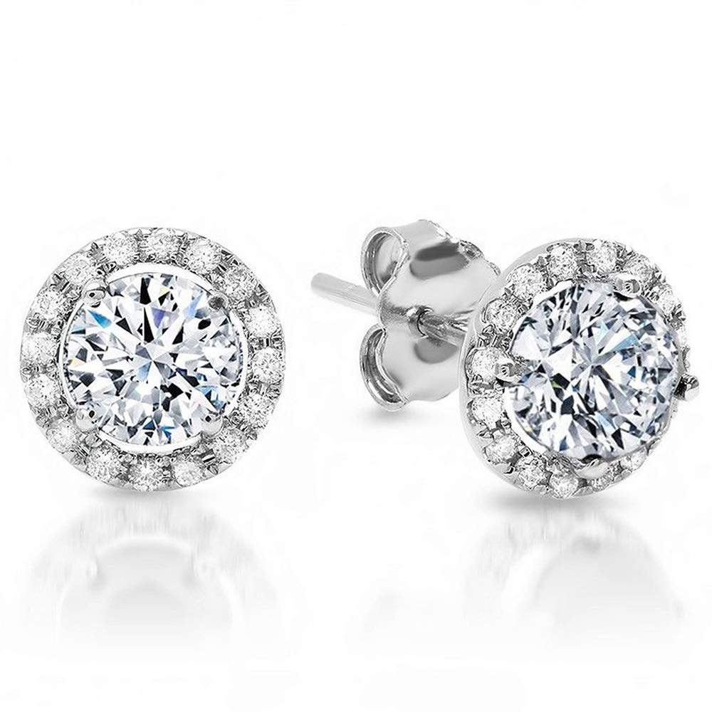 1.70 CT CZ ROUND BRILLIANT CUT SOLITAIRE HALO Pave STUD EARRINGS 14K WHITE GOLD ScrewBack