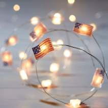 Lights4fun, Inc. 20 USA American Flag Battery Operated Micro LED Indoor Silver Wire String Lights
