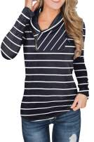 ETCYY Women's Sweatshirts Pullover for Women Long Sleeve Tunic with Cowl Neck Zip Tops