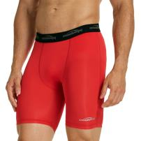 """COOLOMG Men's Compression Shorts 6"""" Cool Dry Sport Tights Training Baselayer for Boys Youth"""