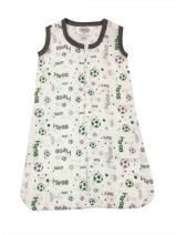 Bacati Soccer Ball Muslin Sleep Sack, Green/Grey, Small