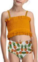 RAISEVERN Girls Two Piece Swimsuits 3D Printed Bathing Suit Toddler Kids Ruffles Bikini Set Swimwear for 3-10T