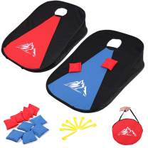 JUOIFIP Collapsible Portable Cornhole Set Portable Cornhole Game Boards with 10 Bean Bags for Adults Kids, Cornhole Set with Carrying Bag for Backyard, Lawn, Beach 2-in-1 Game Set 3 x 2-feet