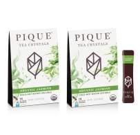 Pique Tea Organic Jasmine Green Tea Crystals - Immune Support, Gut Health, Fasting - 28 Single Serve Sticks (Pack of 2)