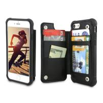 Gear Beast PU Leather Top View Wallet Case Fits iPhone 8/7 Includes Flip Folio Cover, with Five Card Slots Including Transparent ID Holder and Military Grade Protective Case
