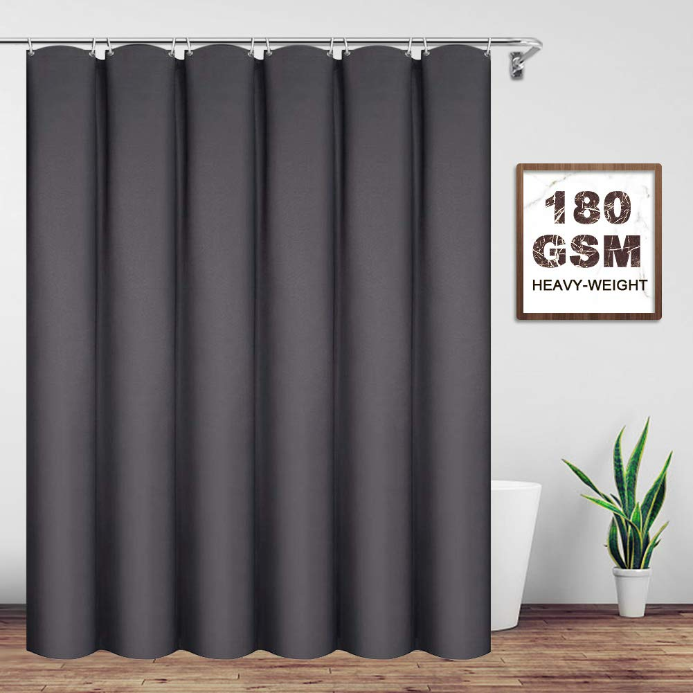 VCVCOO Stall Shower Curtain 36 x 72 inch with Rust Proof Grommets, Solid Color Modern Solid Carbon Grey Fabric Bathroom Curtain Heavy Duty
