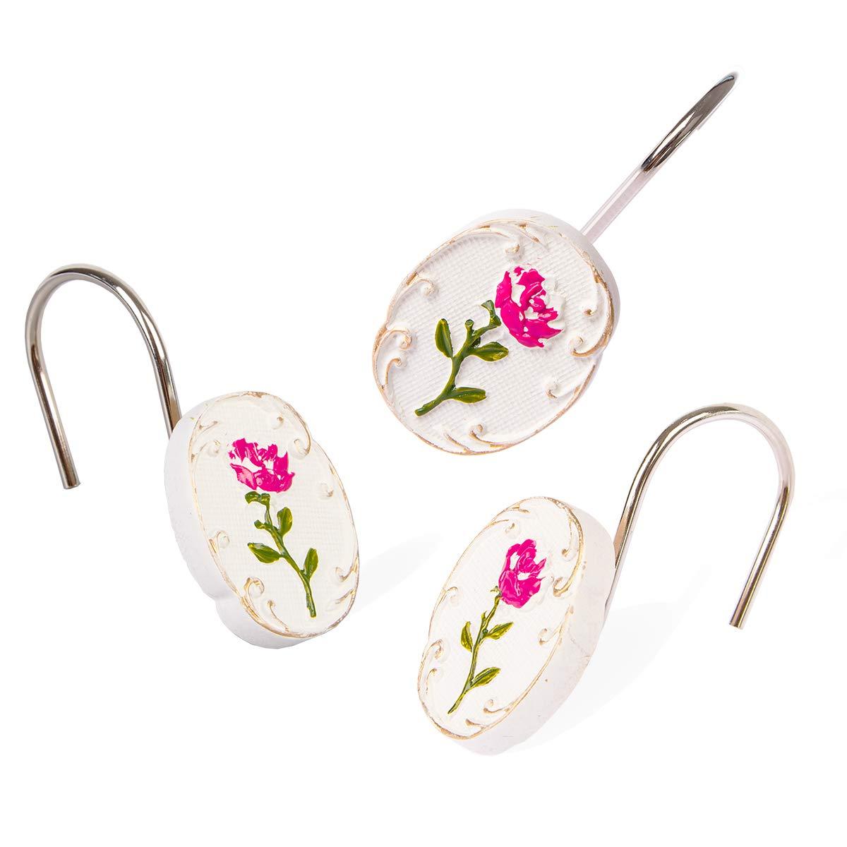 Dimaka Shower Curtain Hooks, Rose Flower Elegant Design Hooks 12 PCS Decorative Rust Proof Resin Stainless White Shower Hooks Rings for Bathroom,Bedroom,Baby Room Decor (Rose)
