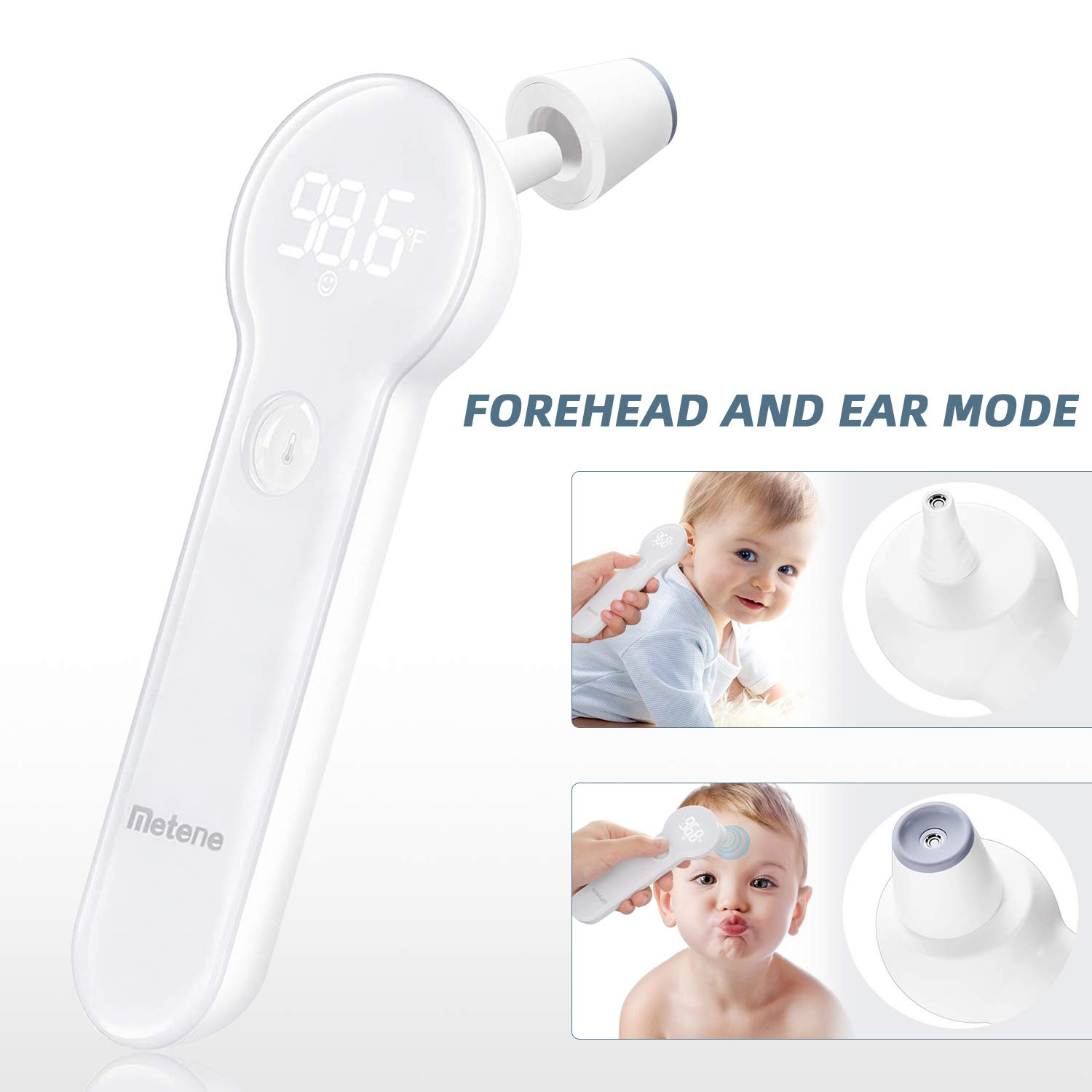 Baby Thermometer for Fever, Instant Accurate Reading Medical Digital Forehead and Ear Thermometer, Metene Infrared Infant Thermometer for Best Accuracy with Indicator for Kids, Toddlers, and Adults