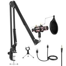 Microphone Bundle, ZealSound Condenser Mic Kit with Adjustable Suspension Scissor Arm, Metal Shock Mount and Triple Stand for Music Recording Singing Garageband Smule for Phone & PC (Rose Gold)