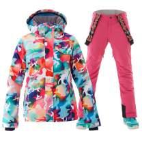 Women's Waterproof Ski Jackets Pants Suit Windproof Insulated Hoodie
