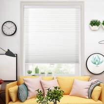 "Wotefusi Cellular Shades Non-Woven Honeycomb Light Filtering Window Blinds Cordless Safe White 23"" W x 64"" H"