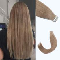 """Lovrio 18"""" 20pcs 50g Tape in Human Hair extension Color Golden Brown Seamless Skin Weft Invisible Double Sided Tape"""