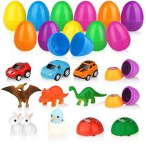 Baztoy Easter Eggs Plastic Bulk Easter Toy Gifts Party Favor Filler with Surprise Mini Toys contain Dinosaurs Vehicles Rabbits Stampers and Nestling, Decoration Resurrection Egg Toy for Kids Toddlers Boys and Girls (12 Pack)