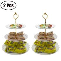 FEOOWV 2 Pcs Plastic 3 Tier Cupcake Stand Fruits Desserts Dried Fruit Candy Buffet Plate Holder for Home Tea Party,Wedding,Baby Shower (B-2Pcs White/Gold)