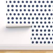Spoonflower Pre-Pasted Removable Wallpaper, Decor Dots Navy Blue White Polka Retro Print, Water-Activated Wallpaper, 12in x 24in Test Swatch