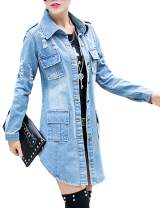 SOMTHRON Women's Distressed Denim Jeans Outfits Coat Spring Fall Ripped Jeans Outerwear Denim Jacket