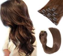 Clip in Hair Extensions Medium Brown Real Hair Clip in Extensions 7 Pieces 70G Silky Straight Double Weft Clip in Remy Hair Extensions Chocolate 18 Inch for Women