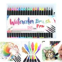 NEODIKO Artist Watercolor Brush Pen & Paint Marker 20 Unique Colors with Flexible Nylon Brush Tips + 1 Water Brush Pens Professional Watercolor Pens for Painting, Drawing, Coloring & More