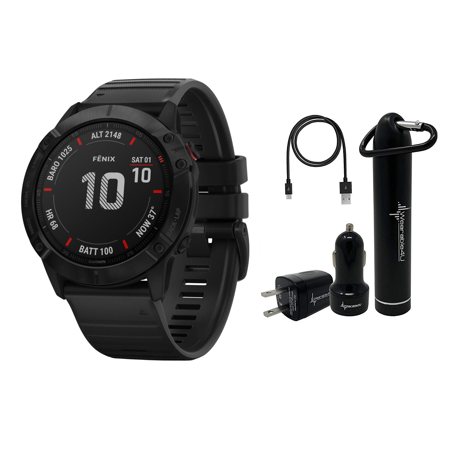 Garmin Fenix 6X Premium Multisport GPS Watches with Pulse OX, Routable Maps and Music with Included Wearable4U Power Pack Bundle (PRO, Black with Black Band)