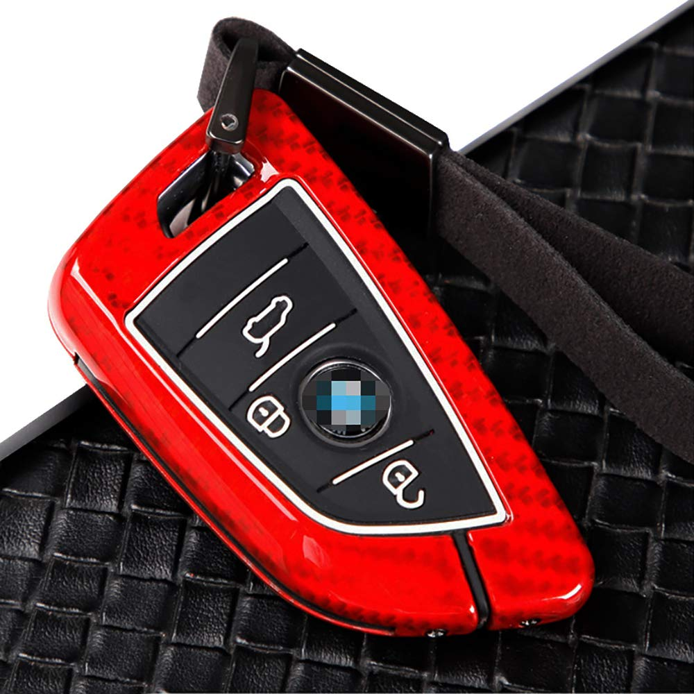 ontto 3 Button Key fobs Covers Fit for BMW X5 F15 2014-2017 Keyless Entry Metal and Silicone Keycase Keychain Keyring Key Shell Skin Holder Protector Carbon Fiber Texture Red