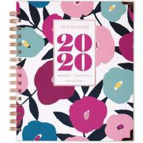 """AT-A-GLANCE 2020 Weekly & Monthly Planner, 8-3/4"""" x 7"""", Medium, Hardcover, Badge Floral (6282F-805)"""