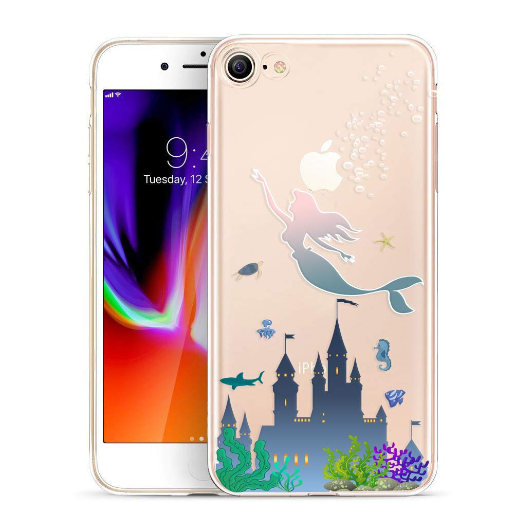 Unov Case for iPhone SE (2020) iPhone 8 iPhone 7 Clear with Design Embossed Pattern TPU Soft Bumper Shock Absorption Slim Protective Back Cover 4.7 Inch (Mermaid Castle)