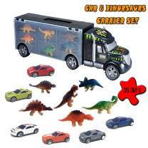 Tuptoel 12PCS Transport Car Carrier Dinosaur Truck Toys Set, Includes 6 Dinosaurs Toys & 6 Off-Road Car Toys, Preschool Educational Gift for Boys/Girls/Kids/Toddlers