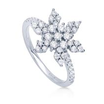 BERRICLE Rhodium Plated Sterling Silver Cubic Zirconia CZ Snowflake Fashion Right Hand Ring