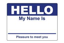"""3 Rolls - Hello My Name is Stickers Labels Nametags Visitor Sticker Badges Write on Adhesive Color Simple Basic Blank [Dark Blue] -2-5/16"""" x 4"""" Inch 100 Stickers Labels per Roll"""