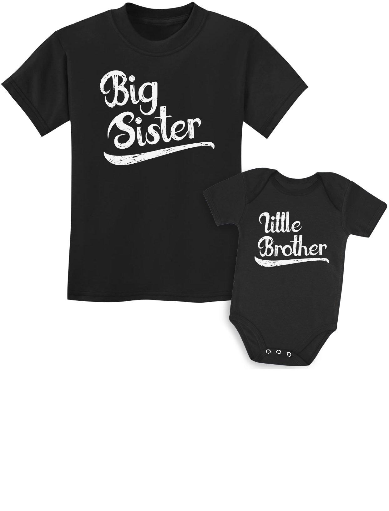 Sibling Shirts Set for Sisters and Brothers Girls & Boys Gift Set Girls Shirt Black/Baby Black Kids Shirt 4T / Baby 6M