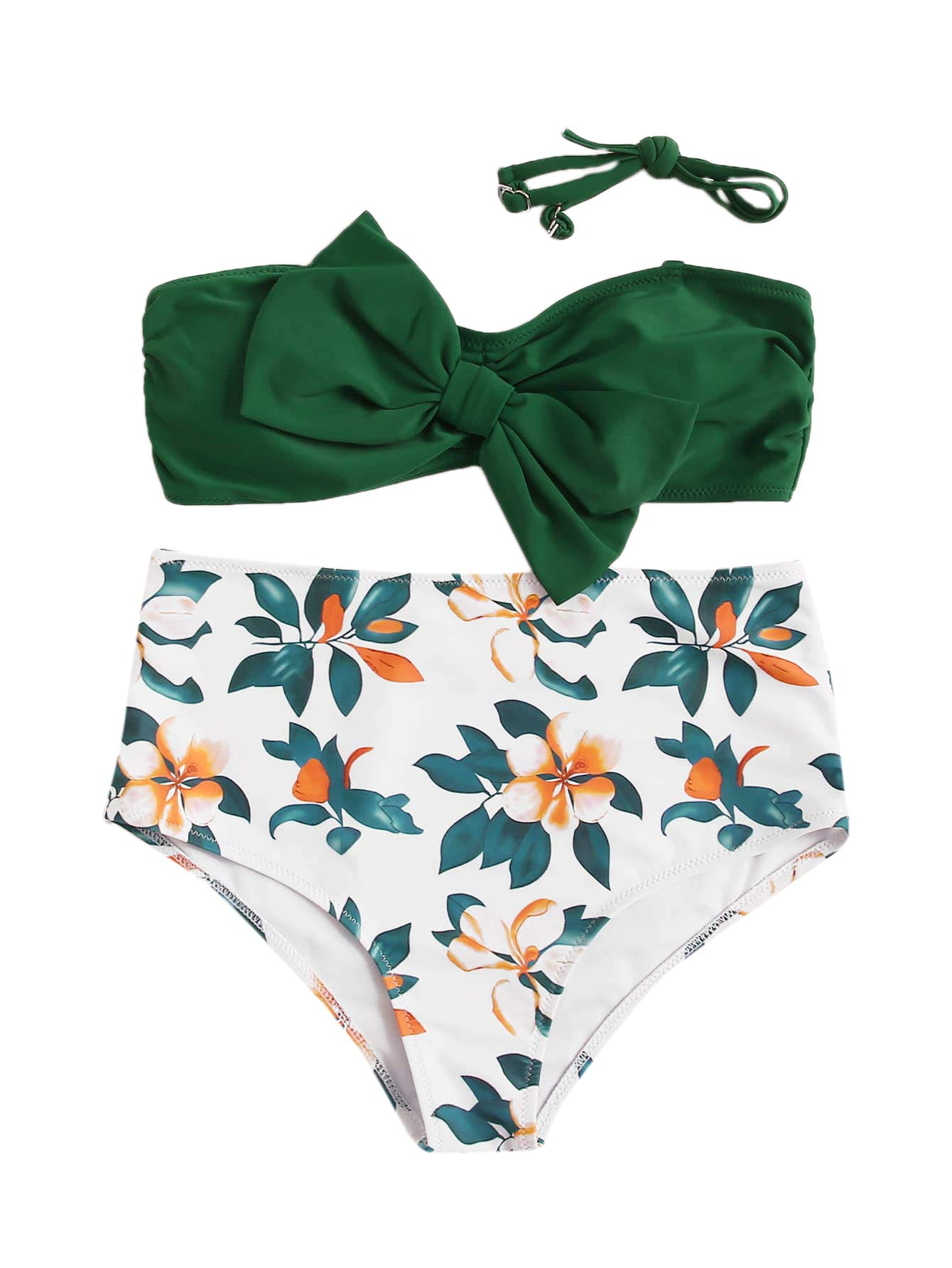 SweatyRocks Women's Swimwear Set Bow Bikini Top Floral High Waisted Swimsuits