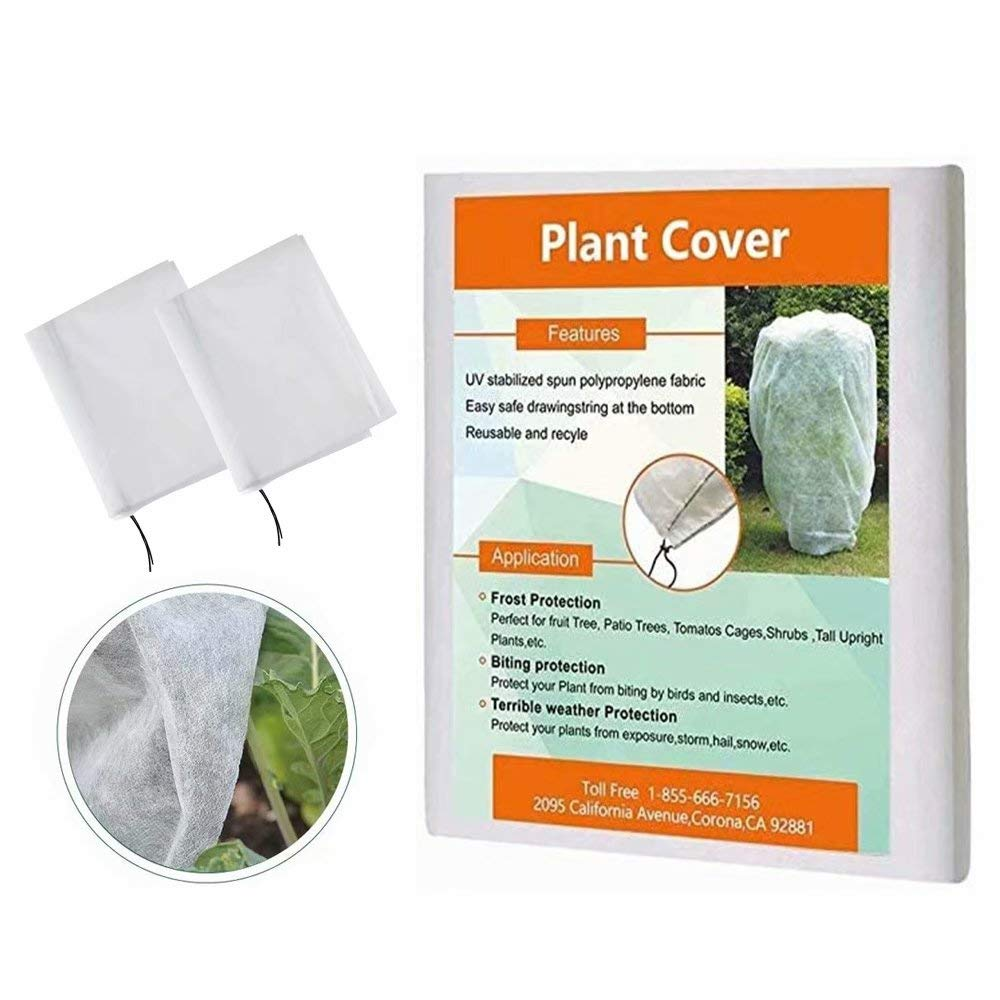 Agfabric Plant Covers Freeze Protection 72''x72'' Shrub Jacket with Drawstring, Winter Tree Cover for Frost Protection Pest Protection, 2 Pack