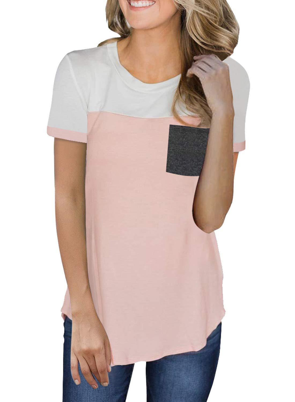 Malaven Womens Print T Shirts Crewneck Short Sleeve Color Block Tops Loose Fit Shirt Blouses