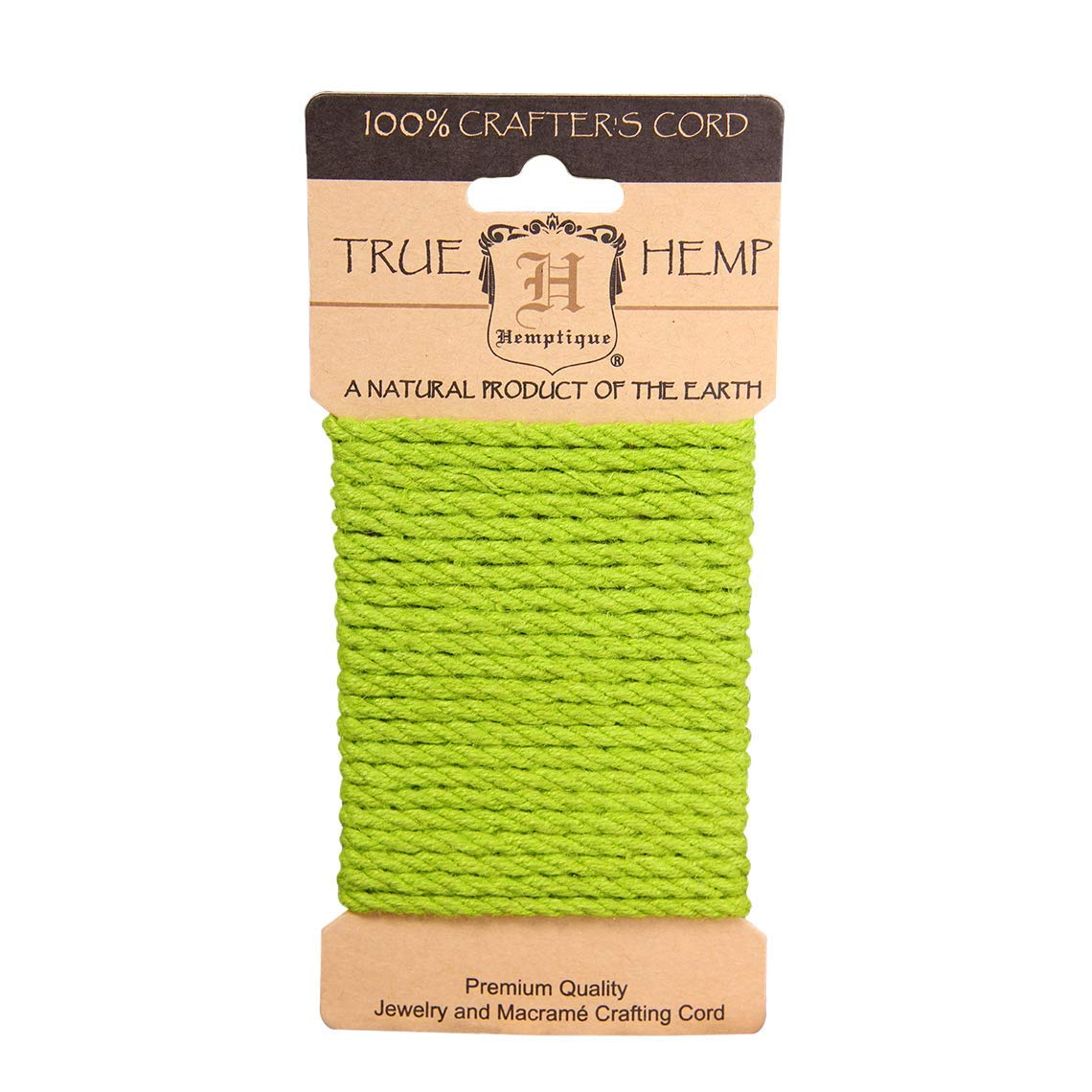 Hemptique Hemp Rope Card - Made with Love - Crafter's No. 1 Choice – Eco Friendly – Plant Hanger - Scrapbooking – Gardening – Macramé – Home Decor (Lime Green, 4mm)