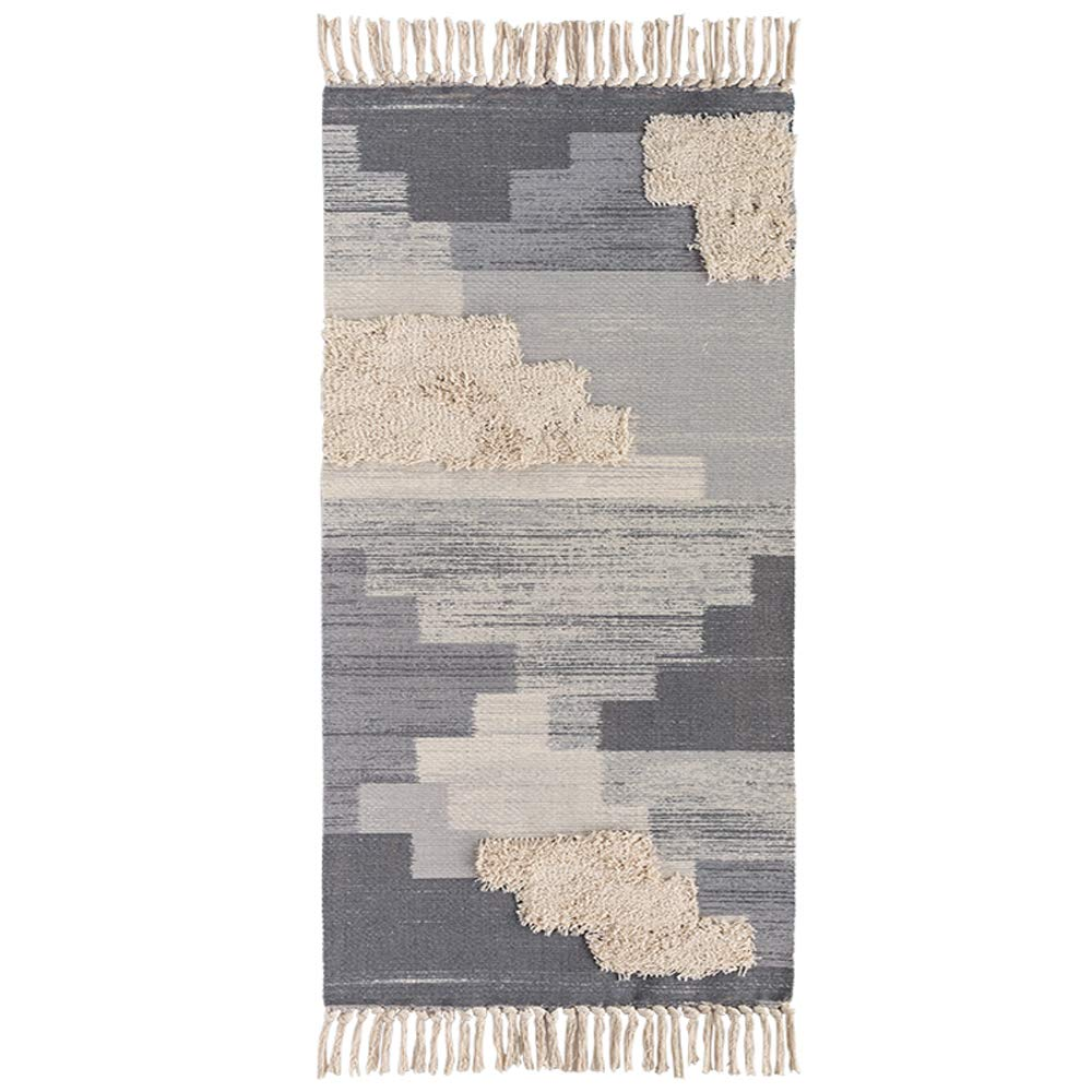 Wolala Home Moroccan Tufted Tassels Printed Cotton Hand Woven Rug Comfortable Machine Washable Area Rugs Carpet for Kitchen/Bathroom/Bedroom/Living Room/Laundry Room/Entryway/Hallway(23''x51'', Gray)