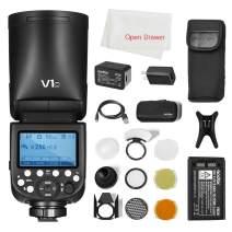Godox V1 Flash V1-C Round Head Flash TTL On-Camera Round Flash Speedlight Compatible Canon Camera with Godox AK-R1 Accessories Kit