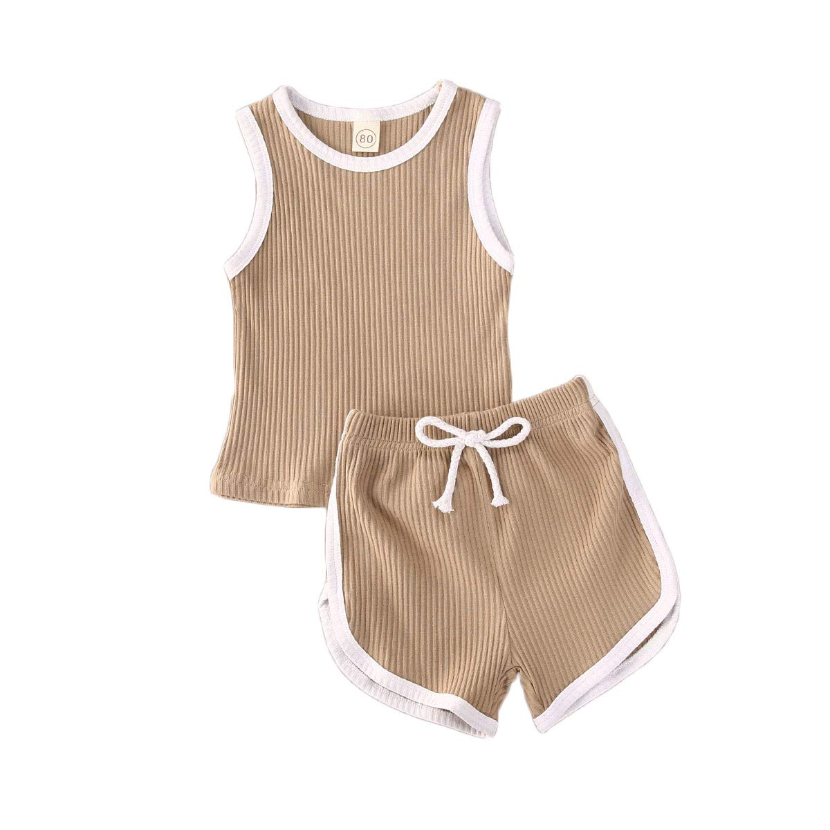 Toddler Baby Boy Girl Summer Outfits Sleeveless Tank Top Shorts Pants Solid Clothes Set