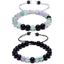 Cat Eye Jewels Matching Bracelets Long Distance Couple Bracelets His and Her Friendship 8mm Semi-Precious Stone Fluorite Onyx Beads Bracelet for Men Women C017