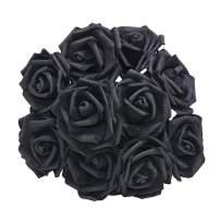 YONGSNOW Artificial Rose Flower 30Pcs PE Foam Roses Bulk with Stem Real Touch 3D Rose for DIY Wedding Bouquets Centerpieces Bridal Shower Party Home Decoration (Black)