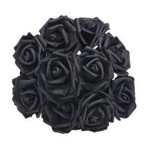 YONGSNOW Artificial Rose Flower 30Pcs PE Foam Roses Bulk with Stem Real Touch 3D Rose for DIY Wedding Bouquets Centerpieces Bridal Shower Party Home Decoration (Black)