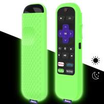 Protective Case for TCL Roku TV Steaming Stick 3600R Remote, Silicone Cover Shock Proof Remote Controller Skin, Anti Slip Universal Replacement Sleeve(Glow Green)
