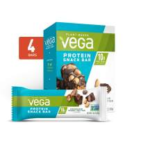 Vega Protein Snack Bar, Chocolate Peanut Butter - Vegan Protein Bars, Plant Based, Vegetarian, Dairy Free, Gluten Free, Soy Free, Non GMO (4 Count)