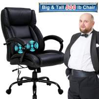 Big & Tall Office Chair Heavy Duty 500LBS Computer Desk Chair Ergonomic High Back Massage Rolling Swivel Chair with Lumbar Support Armrest Task Wide Seat PU Leather Executive Chair for Man Wome, Black