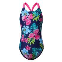Girl's Athletic One Piece Swimsuit Stripe/Floral Bathing Suit Ruffle Swimwear