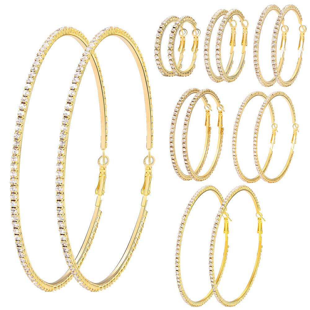 7 Pairs Gold Silver Big Shiny Crystal Hoop Earrings Set 3-10cm Large Round Party Earrings Set Jewelry for Gift Wedding Date