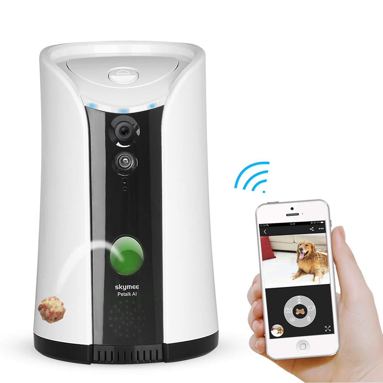 SKYMEE Dog Camera Treat Dispenser,WiFi Full HD Pet Camera with Two-Way Audio and Night Vision,Compatible with Alexa