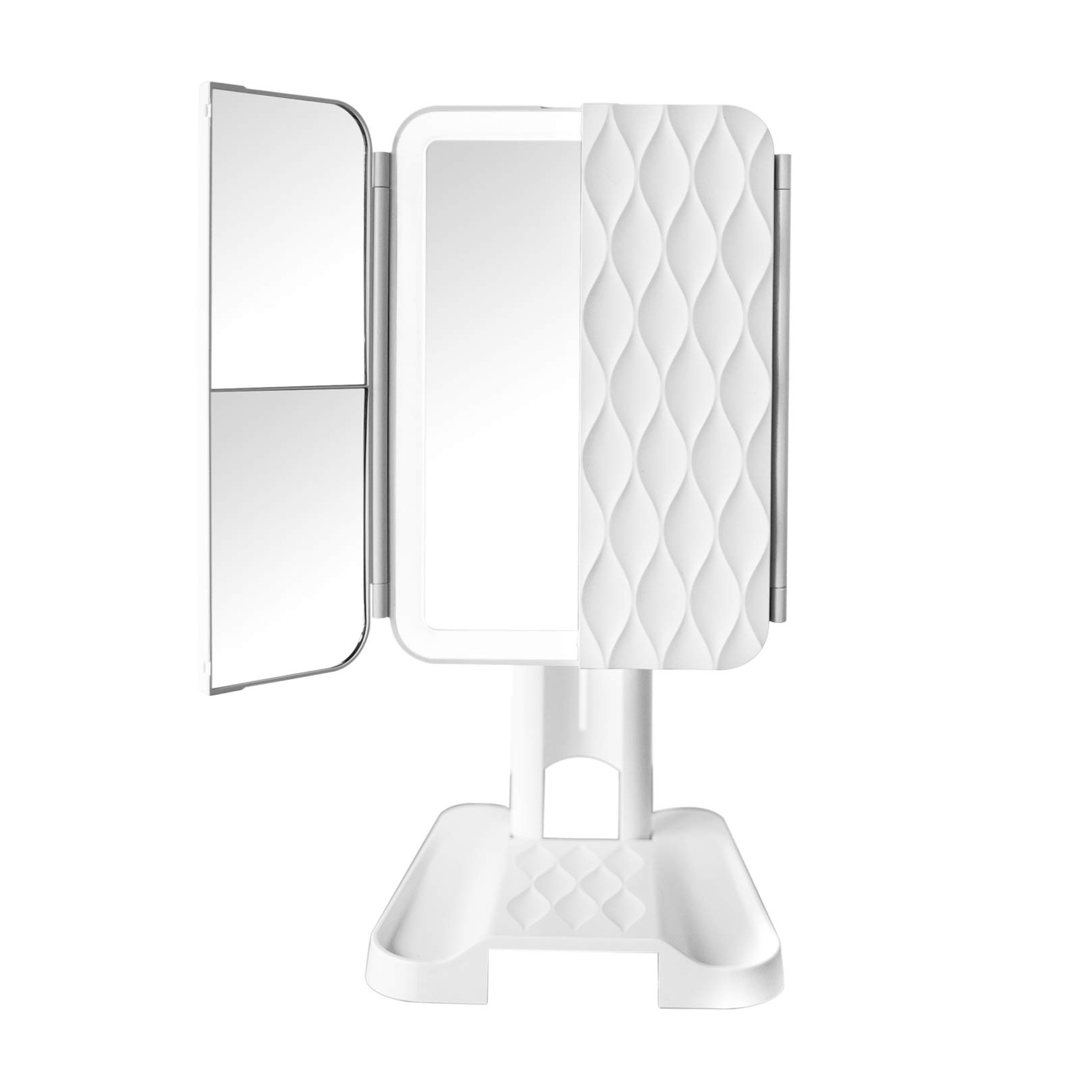 LED Makeup Mirror - Professional Trifold Cosmetic Make Up Mirror with 72 Natural Lights, 3x Magnification, 360 Adjustable Stand for Vanity, Countertop - Compact Portable Travel Design - USB or Battery