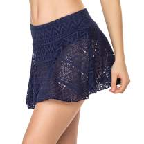 Ekouaer Women's Swim Skirt Sexy Lace Bikini Bottoms Beachwear Swimsuit Skort with Build-in Brief